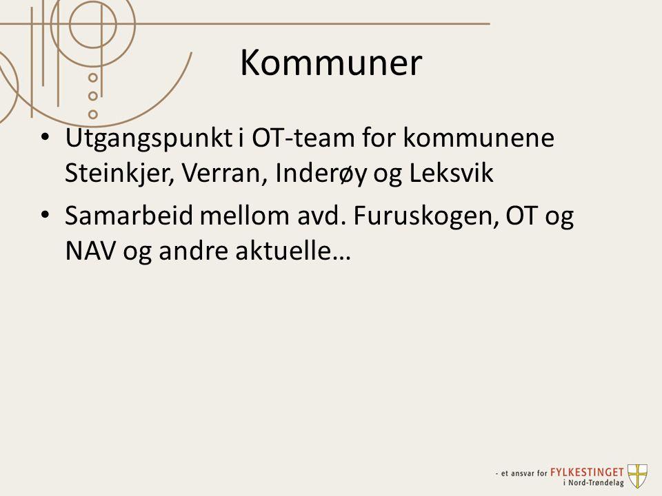 Kommuner Utgangspunkt i OT-team for kommunene Steinkjer, Verran, Inderøy og Leksvik Samarbeid mellom avd. Furuskogen, OT og NAV og andre aktuelle…