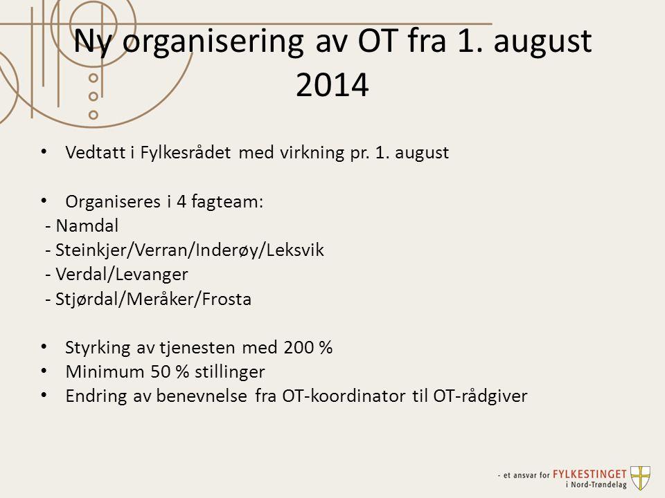 Ny organisering av OT fra 1. august 2014 Vedtatt i Fylkesrådet med virkning pr. 1. august Organiseres i 4 fagteam: - Namdal - Steinkjer/Verran/Inderøy