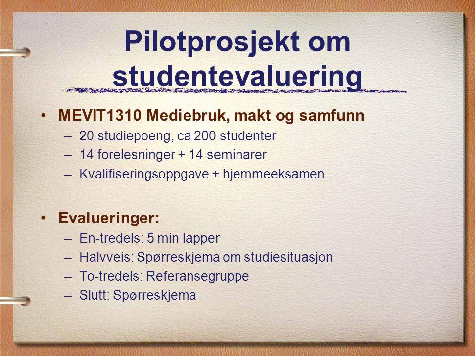 Pilotprosjekt om studentevaluering MEVIT1310 Mediebruk, makt og samfunn –20 studiepoeng, ca 200 studenter –14 forelesninger + 14 seminarer –Kvalifiser