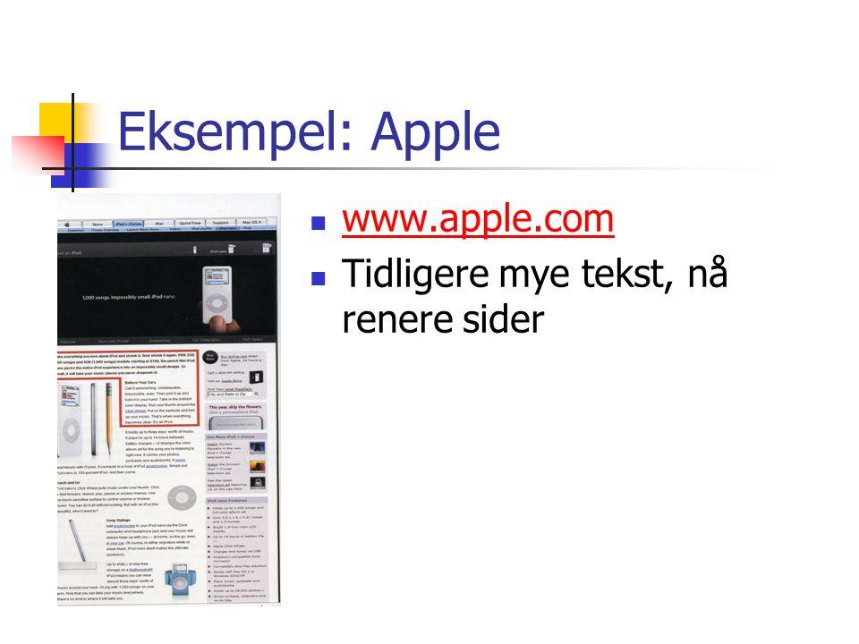 Eksempel: Apple www.apple.com Tidligere mye tekst, nå renere sider