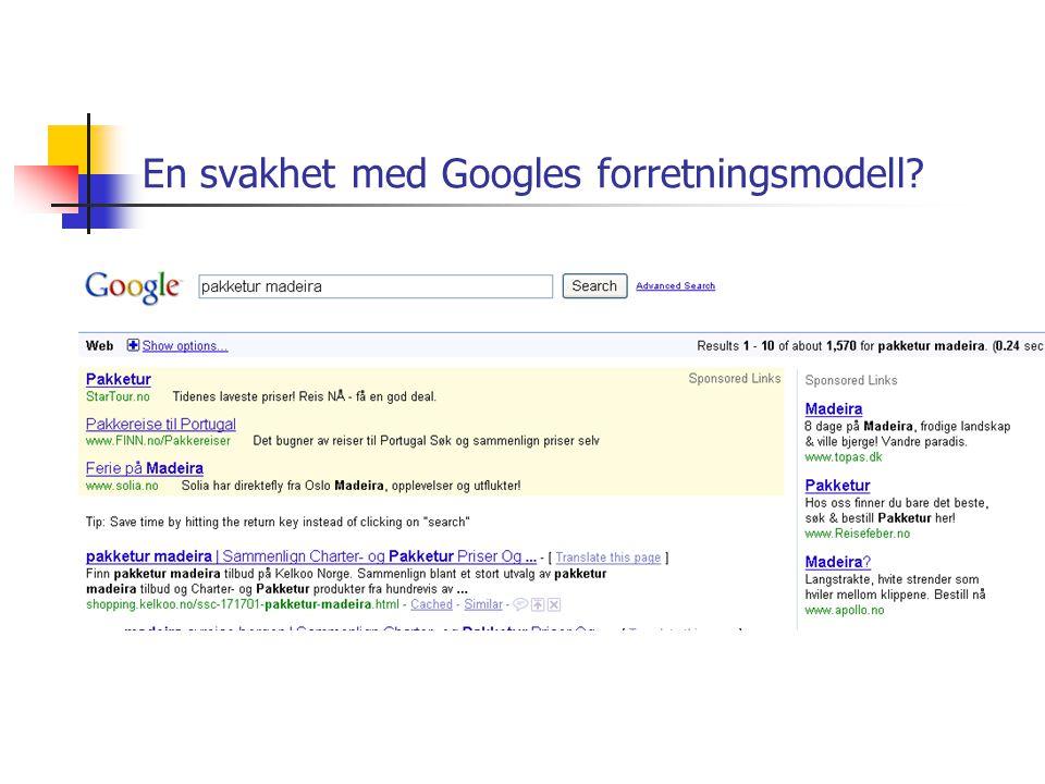 En svakhet med Googles forretningsmodell?