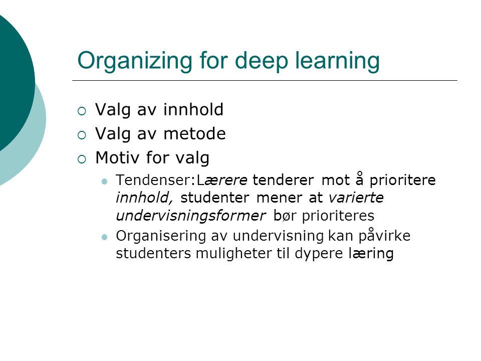 Organizing for deep learning  Valg av innhold  Valg av metode  Motiv for valg Tendenser:L ærere tenderer mot å prioritere innhold, studenter mener at varierte undervisningsformer b ør prioriteres Organisering av undervisning kan påvirke studenters muligheter til dypere l æring