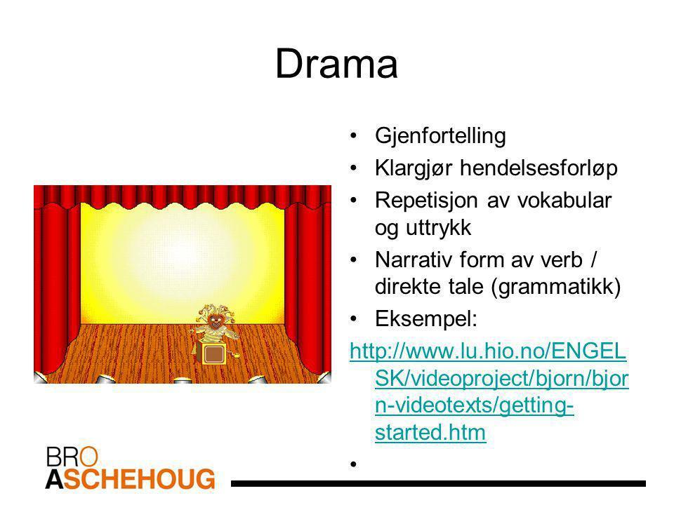 Drama Gjenfortelling Klargjør hendelsesforløp Repetisjon av vokabular og uttrykk Narrativ form av verb / direkte tale (grammatikk) Eksempel: http://www.lu.hio.no/ENGEL SK/videoproject/bjorn/bjor n-videotexts/getting- started.htm