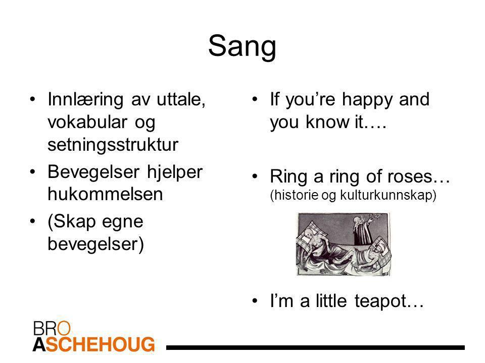 Sang Innlæring av uttale, vokabular og setningsstruktur Bevegelser hjelper hukommelsen (Skap egne bevegelser) If you're happy and you know it…. Ring a