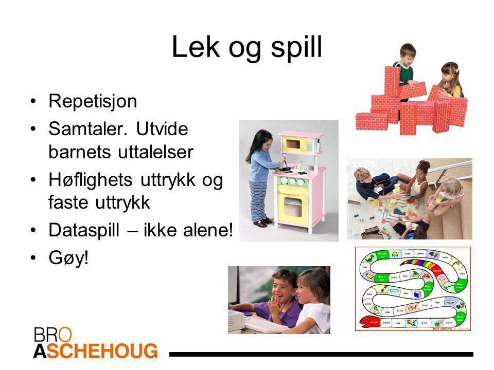 Lek og spill Repetisjon Samtaler. Utvide barnets uttalelser Høflighets uttrykk og faste uttrykk Dataspill – ikke alene! Gøy!