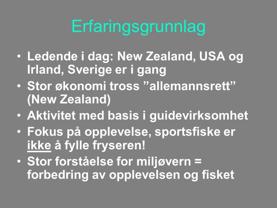 Erfaringsgrunnlag Ledende i dag: New Zealand, USA og Irland, Sverige er i gang Stor økonomi tross allemannsrett (New Zealand) Aktivitet med basis i guidevirksomhet Fokus på opplevelse, sportsfiske er ikke å fylle fryseren.