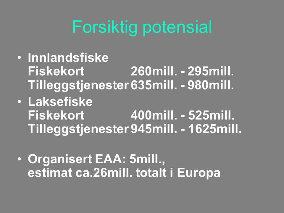 Forsiktig potensial Innlandsfiske Fiskekort260mill.