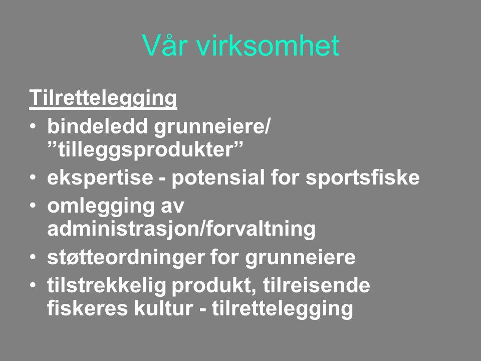 Vår virksomhet Tilrettelegging bindeledd grunneiere/ tilleggsprodukter ekspertise - potensial for sportsfiske omlegging av administrasjon/forvaltning støtteordninger for grunneiere tilstrekkelig produkt, tilreisende fiskeres kultur - tilrettelegging