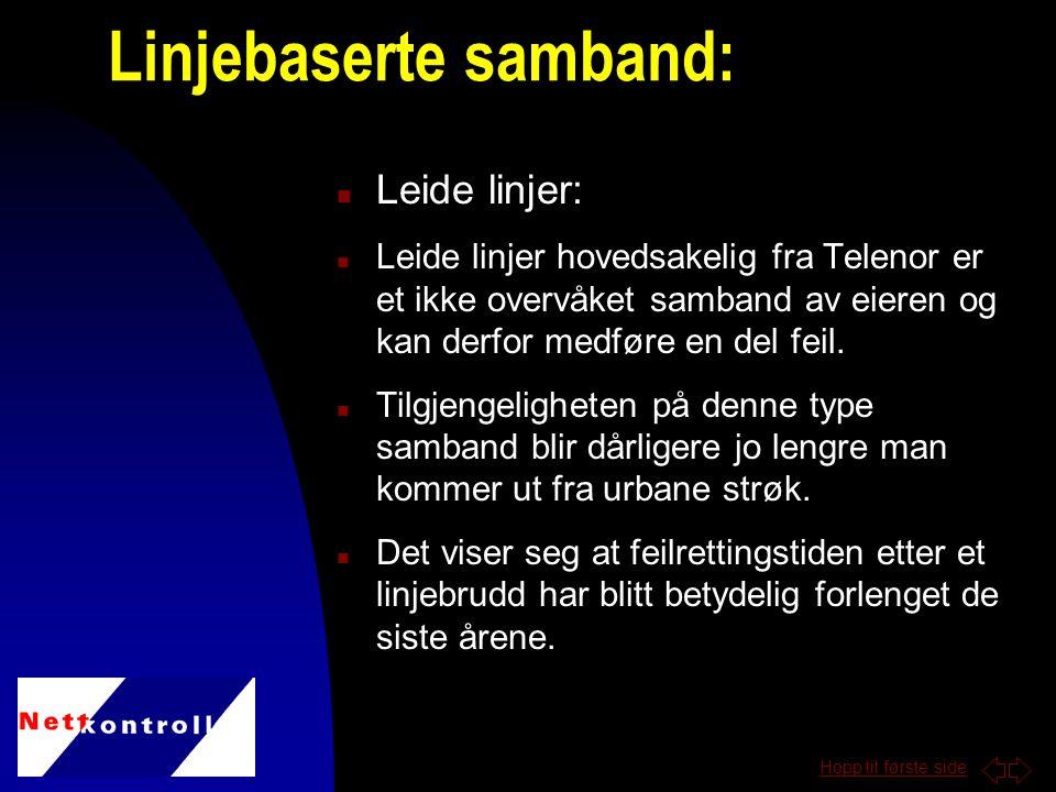 Hopp til første side n Leide linjer: n Leide linjer hovedsakelig fra Telenor er et ikke overvåket samband av eieren og kan derfor medføre en del feil.