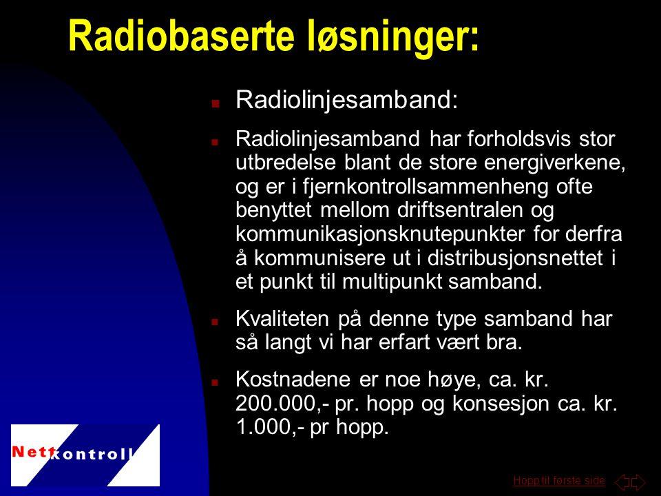 Hopp til første side n Radiolinjesamband: n Radiolinjesamband har forholdsvis stor utbredelse blant de store energiverkene, og er i fjernkontrollsammenheng ofte benyttet mellom driftsentralen og kommunikasjonsknutepunkter for derfra å kommunisere ut i distribusjonsnettet i et punkt til multipunkt samband.
