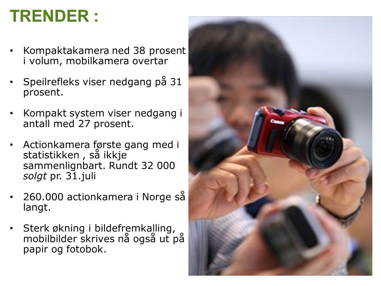 Kompaktakamera ned 38 prosent i volum, mobilkamera overtar Speilrefleks viser nedgang på 31 prosent.