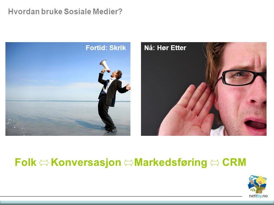 Hvordan bruke Sosiale Medier? Fortid: SkrikNå: Hør Etter FolkKonversasjonCRMMarkedsføring