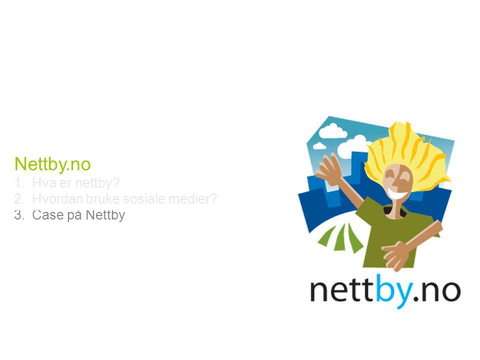 Nettby.no 1.Hva er nettby? 2.Hvordan bruke sosiale medier? 3.Case på Nettby