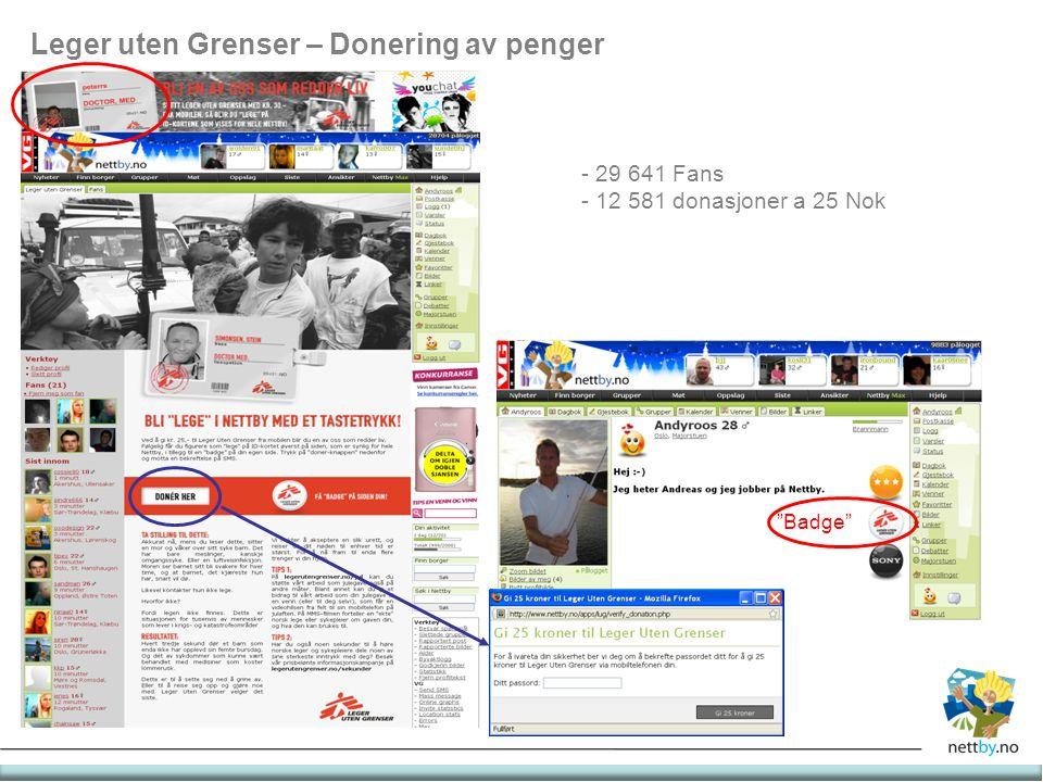 """Leger uten Grenser – Donering av penger - 29 641 Fans - 12 581 donasjoner a 25 Nok """"Badge"""""""