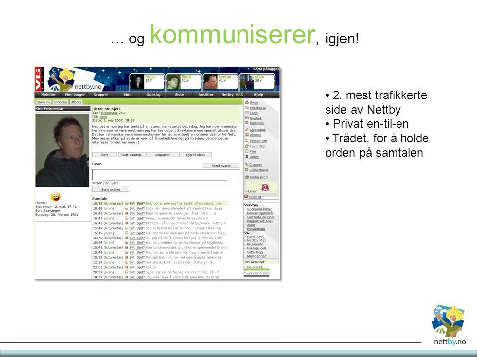 … og kommuniserer, igjen! 2. mest trafikkerte side av Nettby Privat en-til-en Trådet, for å holde orden på samtalen