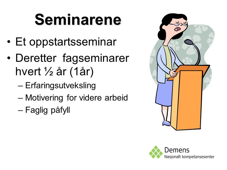 Seminarene Et oppstartsseminar Deretter fagseminarer hvert ½ år (1år) –Erfaringsutveksling –Motivering for videre arbeid –Faglig påfyll