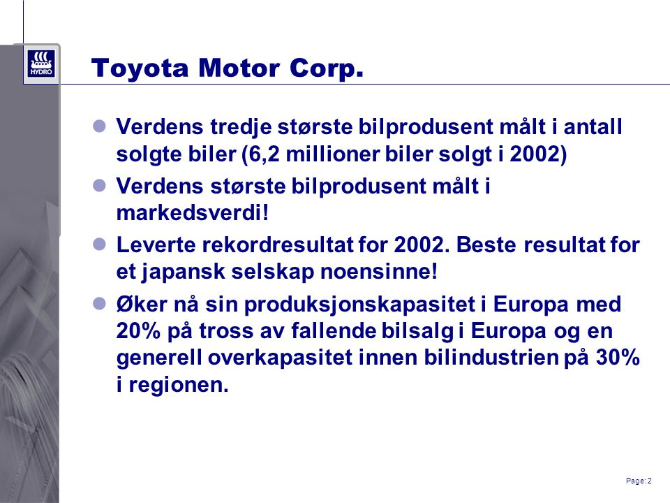 Page: 2 Toyota Motor Corp.