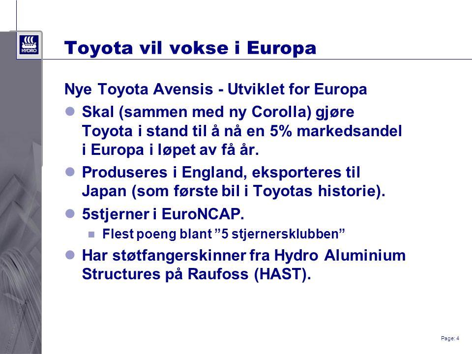 Page: 4 Toyota vil vokse i Europa Nye Toyota Avensis - Utviklet for Europa Skal (sammen med ny Corolla) gjøre Toyota i stand til å nå en 5% markedsand