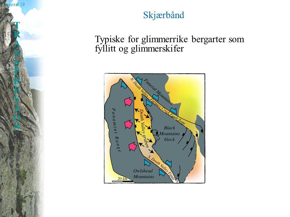 Kapittel 19 TRANSPRESJONTRANSPRESJON Skjærbånd Typiske for glimmerrike bergarter som fyllitt og glimmerskifer