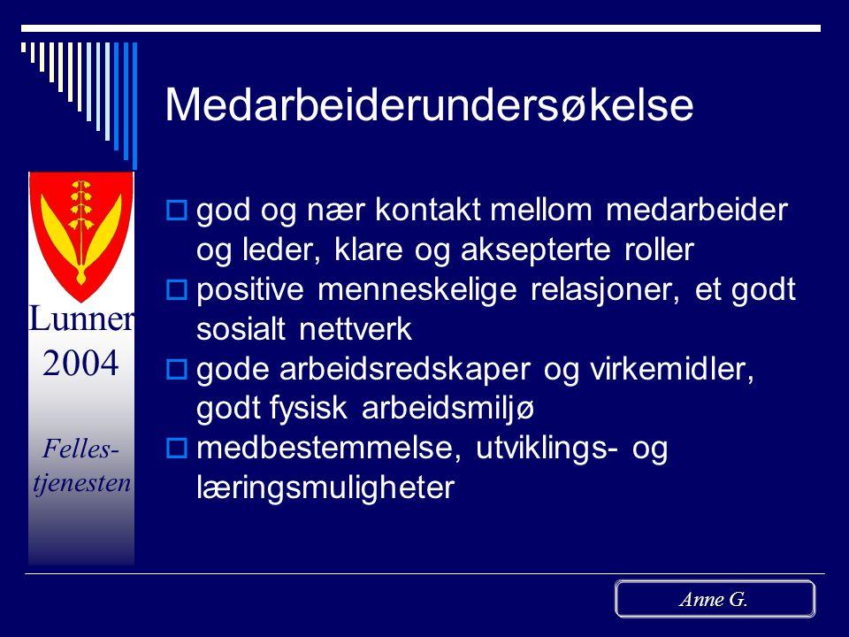 Lunner 2004 Felles- tjenesten Anne G. Driftsmøtene  Fellesmøter 3.