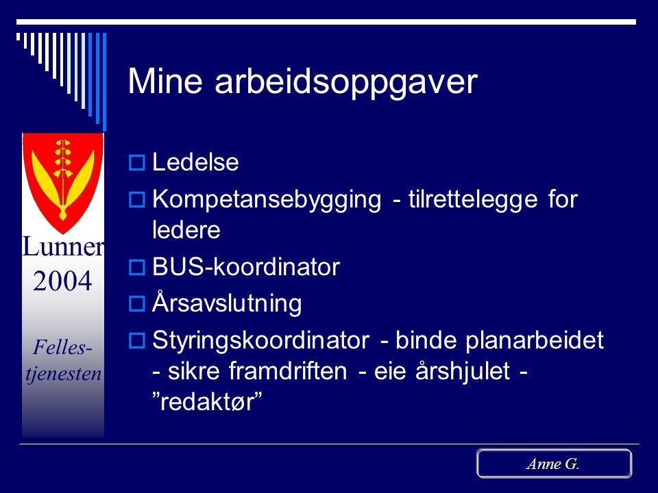 Lunner 2004 Felles- tjenesten Anne G. Presentasjon