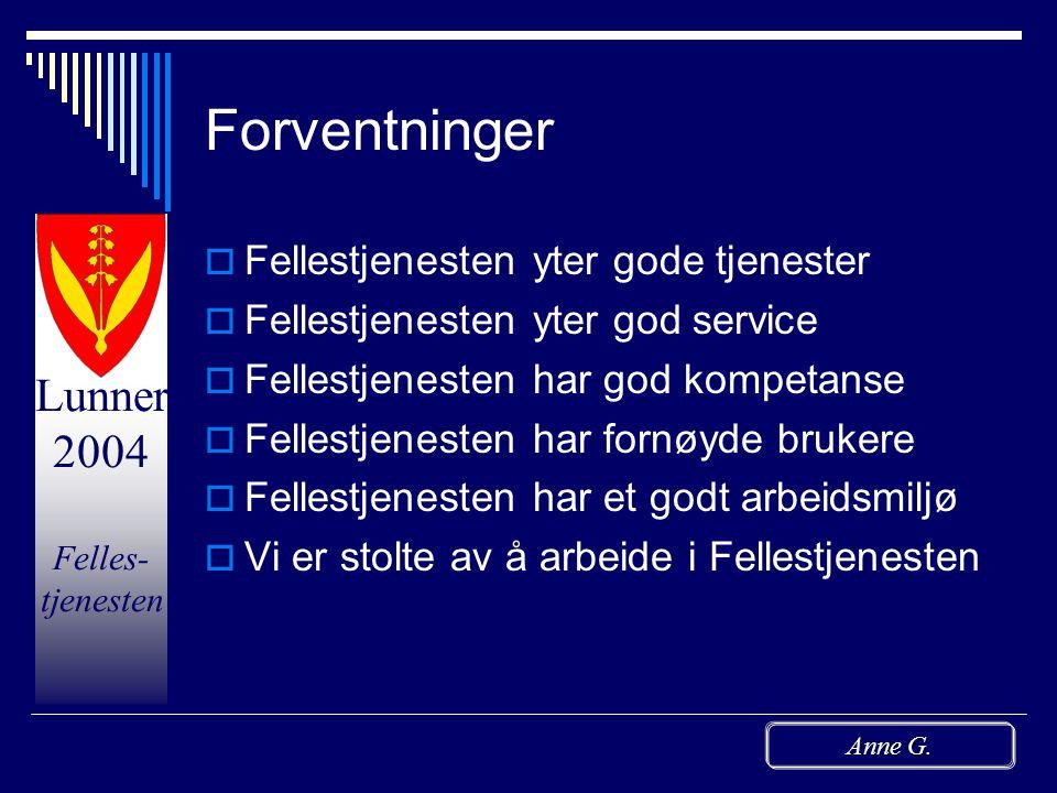 Lunner 2004 Felles- tjenesten Anne G.  Årsmelding => Torill  Tertialrapport => Morten og Frode  PUF - omfordeling av saker/saksbehandling  Skatteo