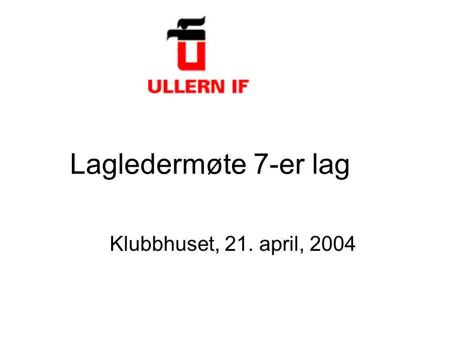 Lagledermøte 7-er lag Klubbhuset, 21. april, 2004
