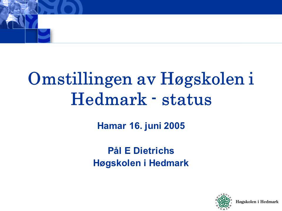Status PhDer, Mastere, Innsatsområder og Vitenskapelig satsing For Høgskolen i Hedmark