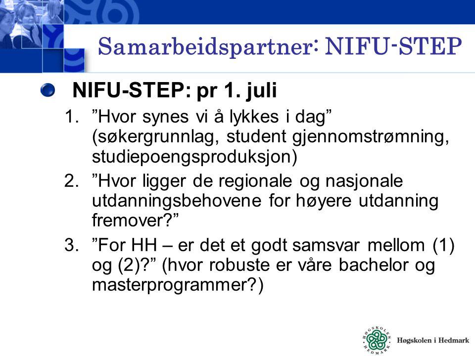 Samarbeidspartner: NIFU-STEP NIFU-STEP: pr 1.