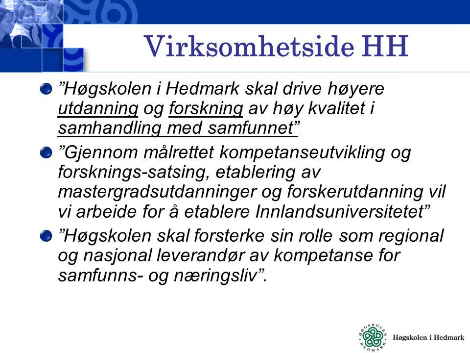 Virksomhetside HH Høgskolen i Hedmark skal drive høyere utdanning og forskning av høy kvalitet i samhandling med samfunnet Gjennom målrettet kompetanseutvikling og forsknings-satsing, etablering av mastergradsutdanninger og forskerutdanning vil vi arbeide for å etablere Innlandsuniversitetet Høgskolen skal forsterke sin rolle som regional og nasjonal leverandør av kompetanse for samfunns- og næringsliv .