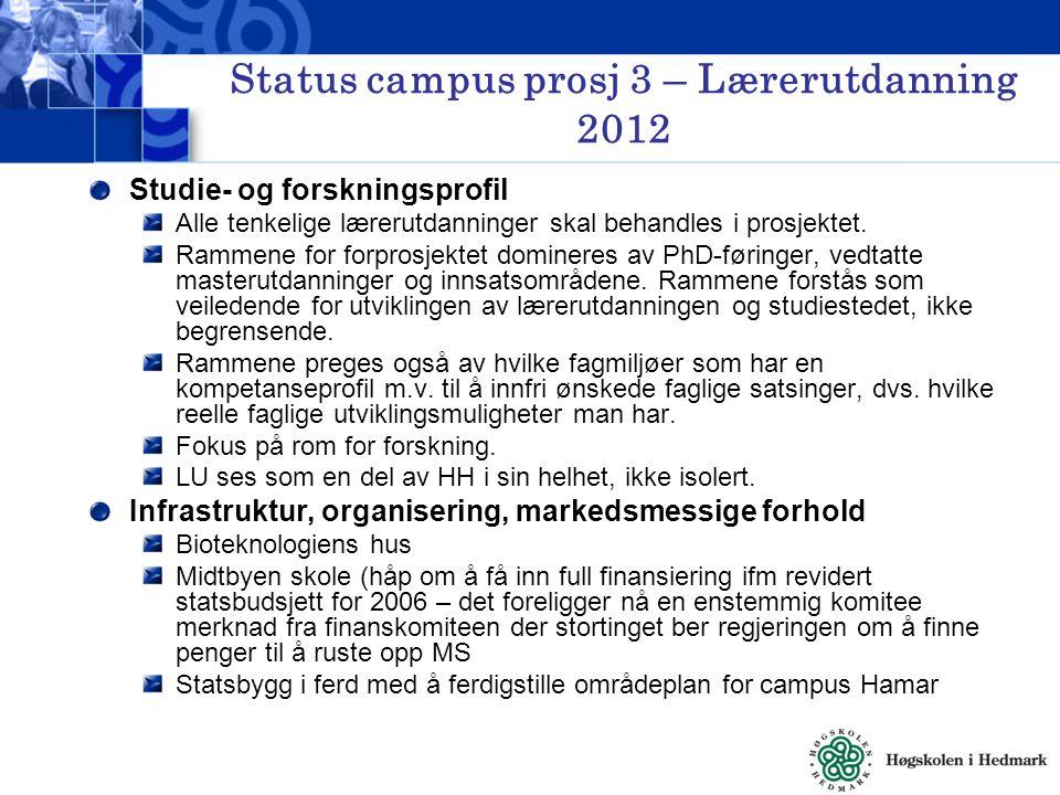 Status campus prosj 3 – Lærerutdanning 2012 Studie- og forskningsprofil Alle tenkelige lærerutdanninger skal behandles i prosjektet.
