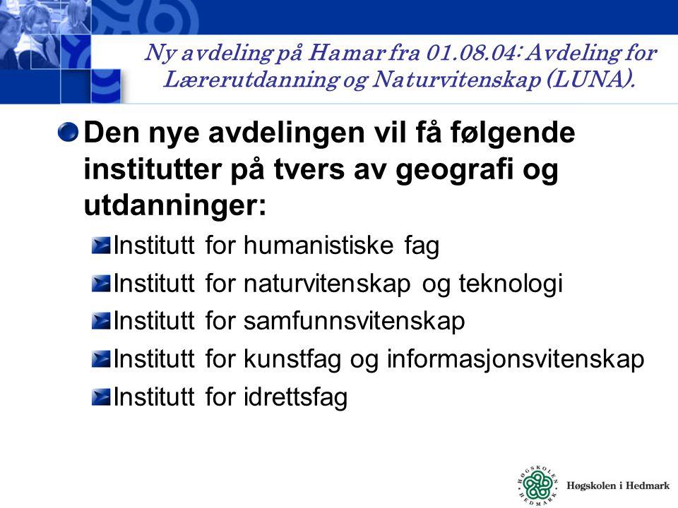 Ny avdeling på Hamar fra 01.08.04: Avdeling for Lærerutdanning og Naturvitenskap (LUNA).