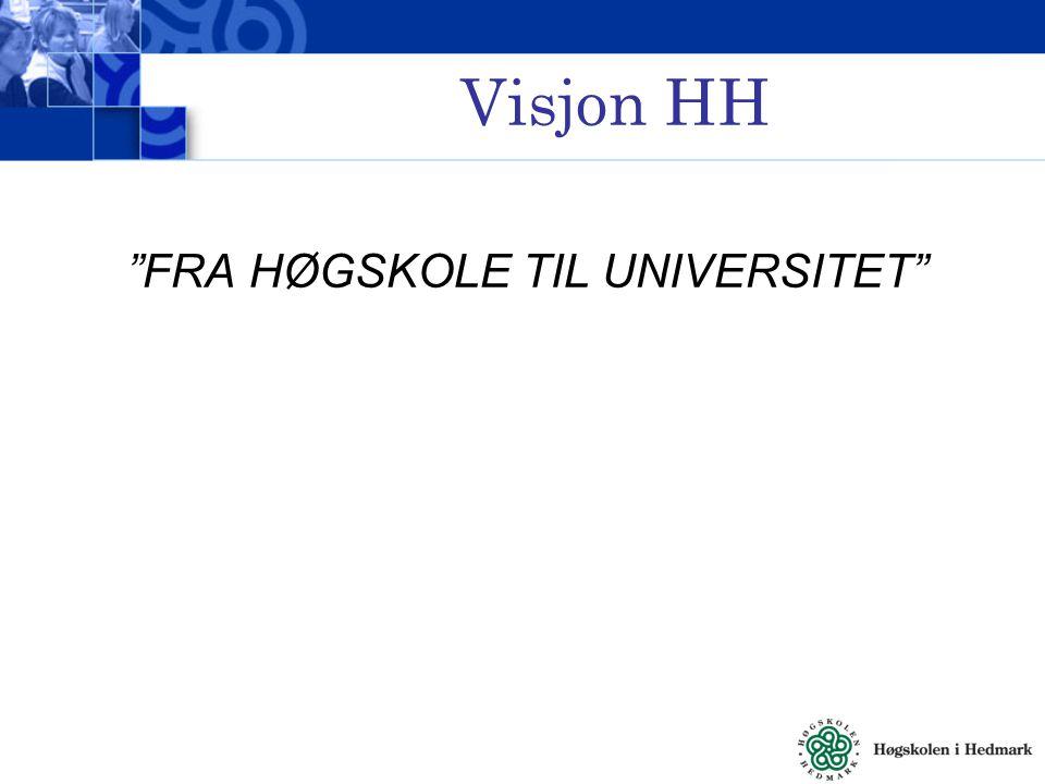 Visjon HH FRA HØGSKOLE TIL UNIVERSITET