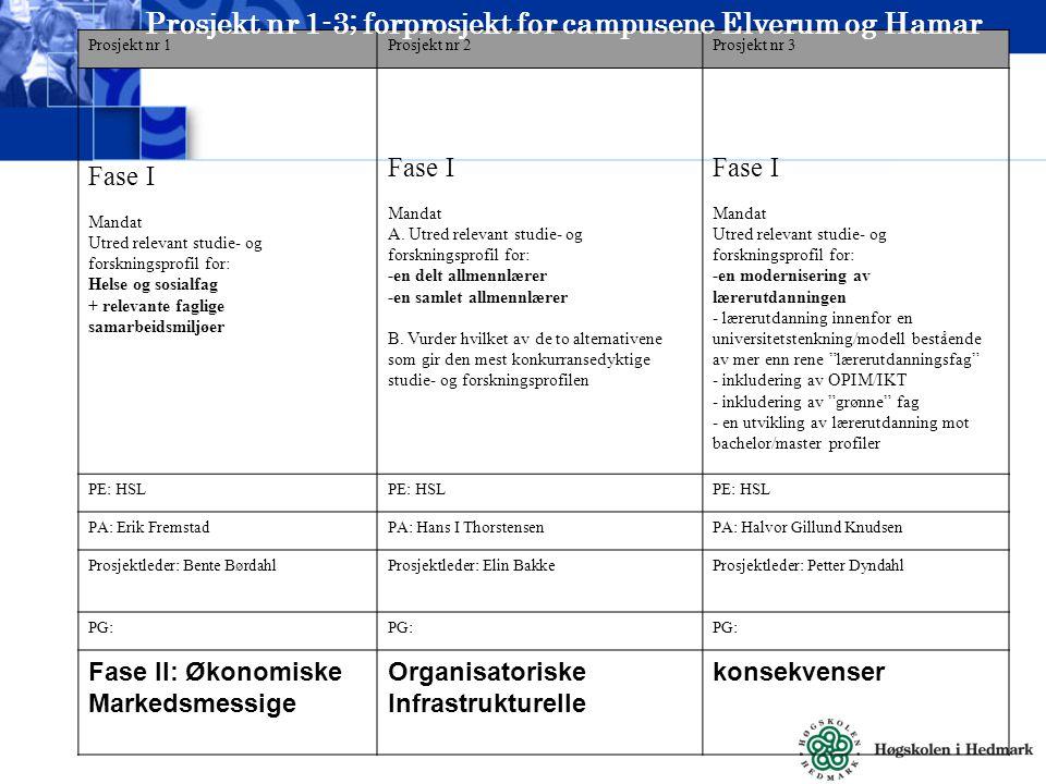 Prosjekt nr 1Prosjekt nr 2Prosjekt nr 3 Fase I Mandat Utred relevant studie- og forskningsprofil for: Helse og sosialfag + relevante faglige samarbeidsmiljøer Fase I Mandat A.