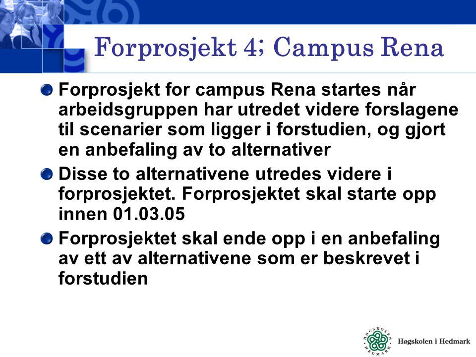 Forprosjekt 4; Campus Rena Forprosjekt for campus Rena startes når arbeidsgruppen har utredet videre forslagene til scenarier som ligger i forstudien, og gjort en anbefaling av to alternativer Disse to alternativene utredes videre i forprosjektet.
