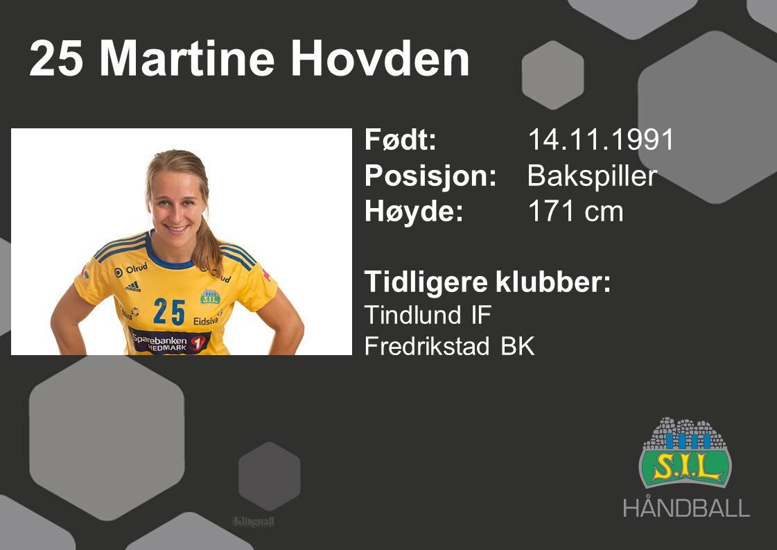 25 Martine Hovden Født: 14.11.1991 Posisjon:Bakspiller Høyde:171 cm Tidligere klubber: Tindlund IF Fredrikstad BK