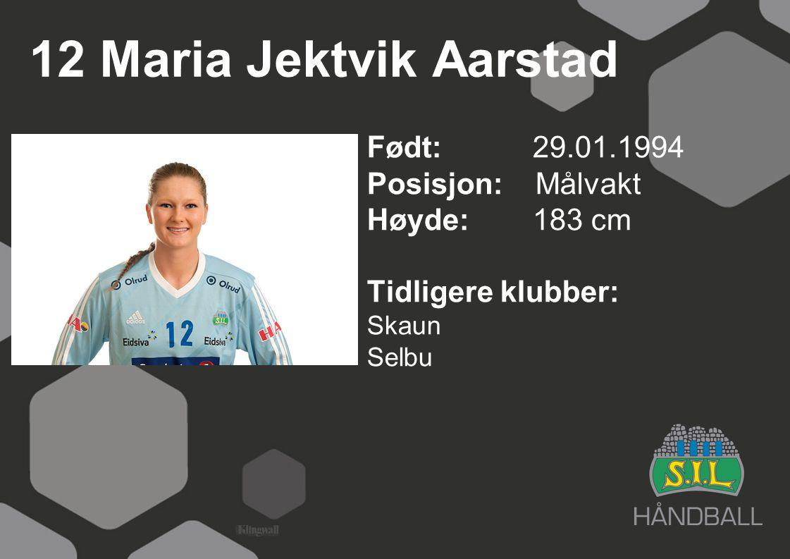 12 Maria Jektvik Aarstad Født: 29.01.1994 Posisjon: Målvakt Høyde:183 cm Tidligere klubber: Skaun Selbu