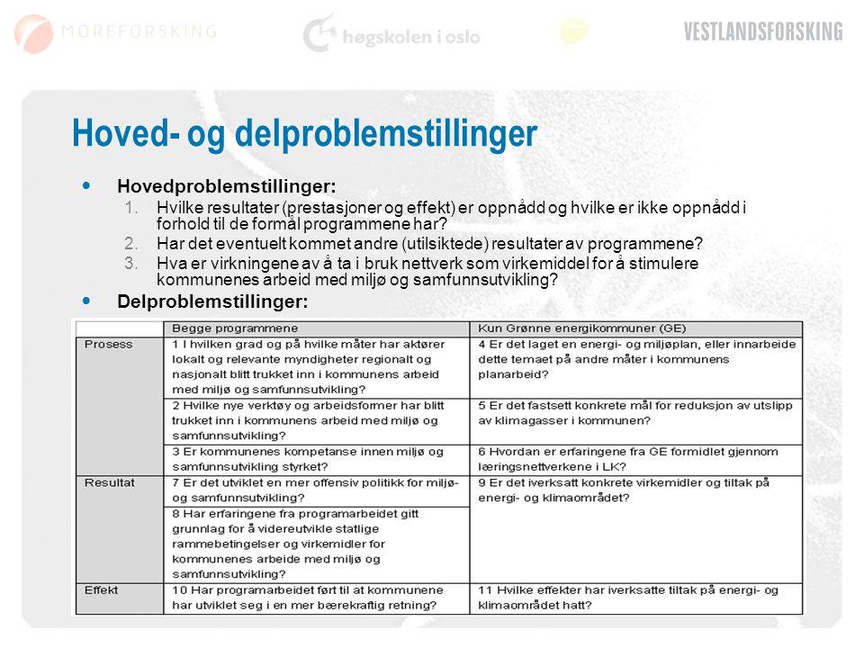 Hoved- og delproblemstillinger Hovedproblemstillinger: 1.Hvilke resultater (prestasjoner og effekt) er oppnådd og hvilke er ikke oppnådd i forhold til