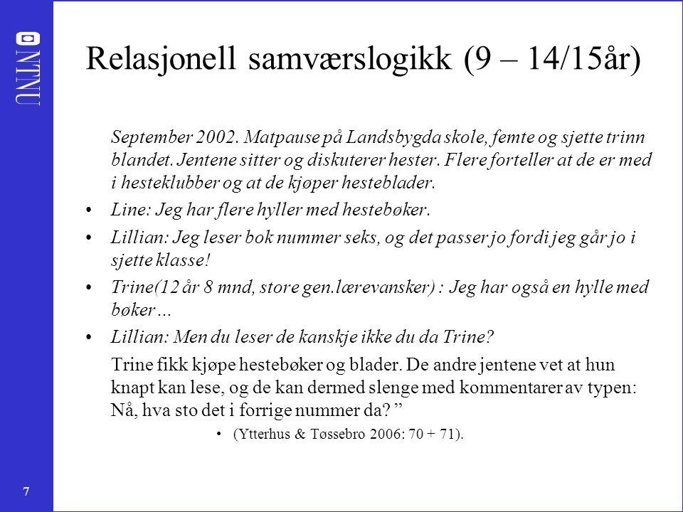 7 Relasjonell samværslogikk (9 – 14/15år) September 2002.