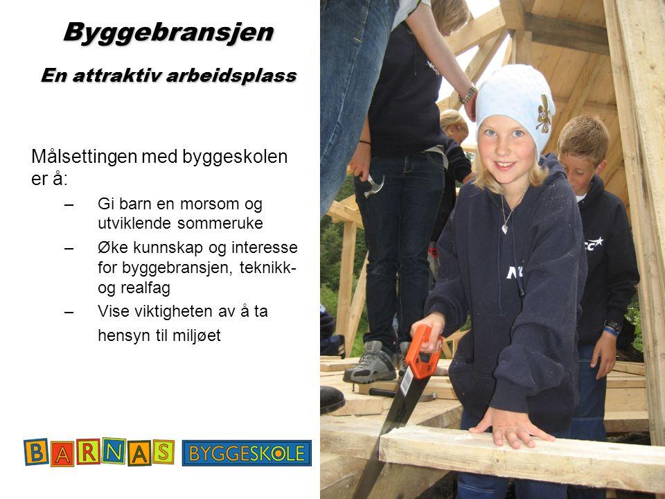 29 Byggebransjen En attraktiv arbeidsplass Målsettingen med byggeskolen er å: – Gi barn en morsom og utviklende sommeruke – Øke kunnskap og interesse