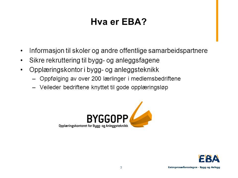 4 4 Hovedfokus for EBA Næringspolitikk –Tett kontakt med byggherrer –Fokus på rammevilkår –Synliggjøre den skapende og medspillende entreprenør Rekruttering og opplæring –Sikre tilstrekkelig tilgang på faglærtarbeidskraft –Rekruttere gjennom aktiv oppfølging av videregående skoler (BYGGOPP) –Kvalitetssikre opplæring i bedrift (BYGGOPP) –Pådriver over for skolen knyttet til innhold og kvalitet i opplæringen (BYGGOPP) –Jobbe for høy kvalitet i TAF- ordning