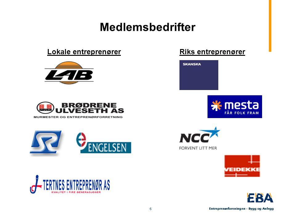 6 6 Medlemsbedrifter Lokale entreprenørerRiks entreprenører