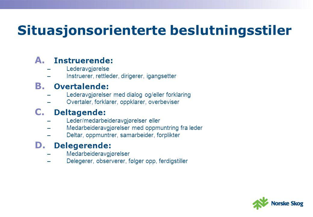 Oppfatning av effektiv/ikke-effektiv ledelse i ulike situasjoner: