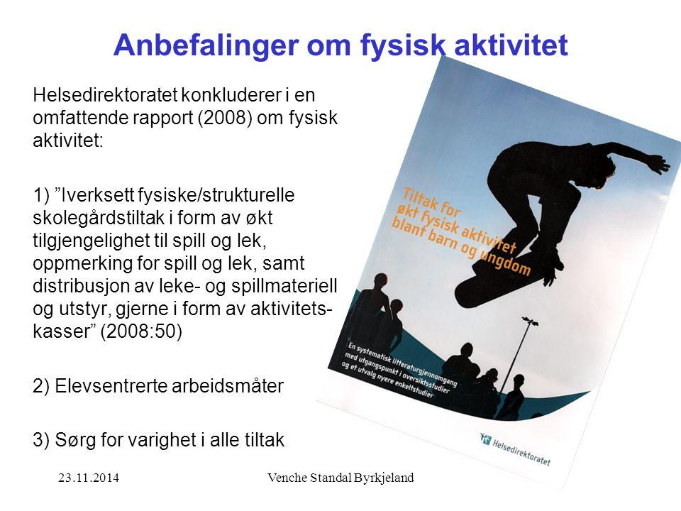 23.11.2014Venche Standal Byrkjeland Anbefalinger om fysisk aktivitet Helsedirektoratet konkluderer i en omfattende rapport (2008) om fysisk aktivitet: 1) Iverksett fysiske/strukturelle skolegårdstiltak i form av økt tilgjengelighet til spill og lek, oppmerking for spill og lek, samt distribusjon av leke- og spillmateriell og utstyr, gjerne i form av aktivitets- kasser (2008:50) 2) Elevsentrerte arbeidsmåter 3) Sørg for varighet i alle tiltak