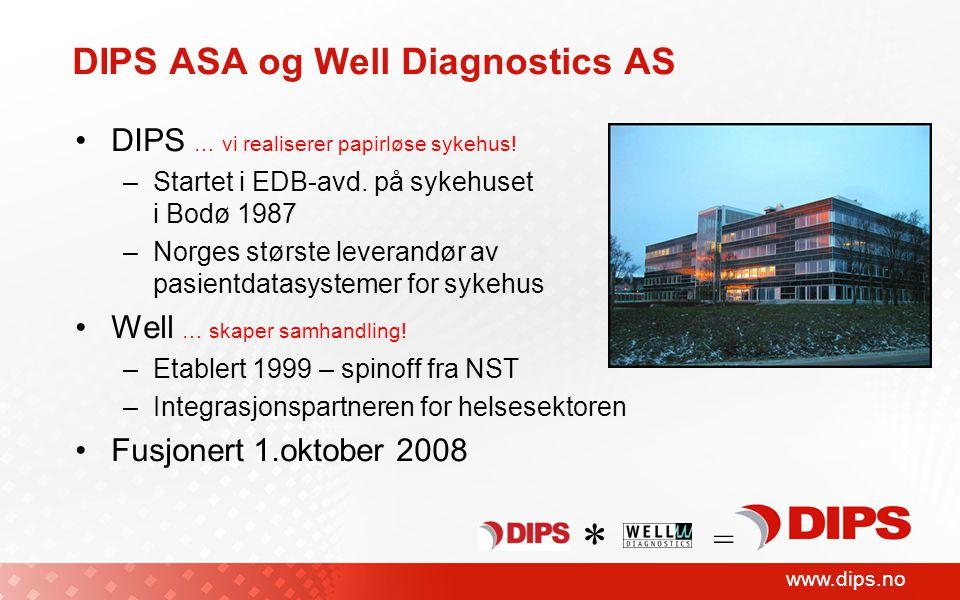 www.dips.no DIPS ASA og Well Diagnostics AS DIPS … vi realiserer papirløse sykehus! –Startet i EDB-avd. på sykehuset i Bodø 1987 –Norges største lever