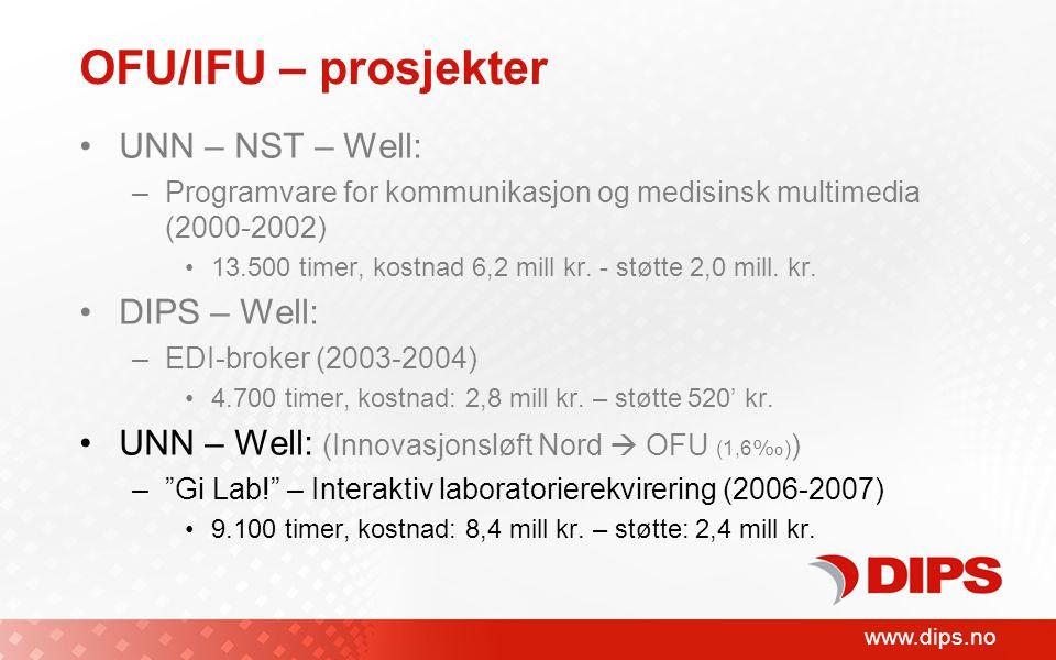 www.dips.no OFU/IFU – prosjekter UNN – NST – Well: –Programvare for kommunikasjon og medisinsk multimedia (2000-2002) 13.500 timer, kostnad 6,2 mill kr.
