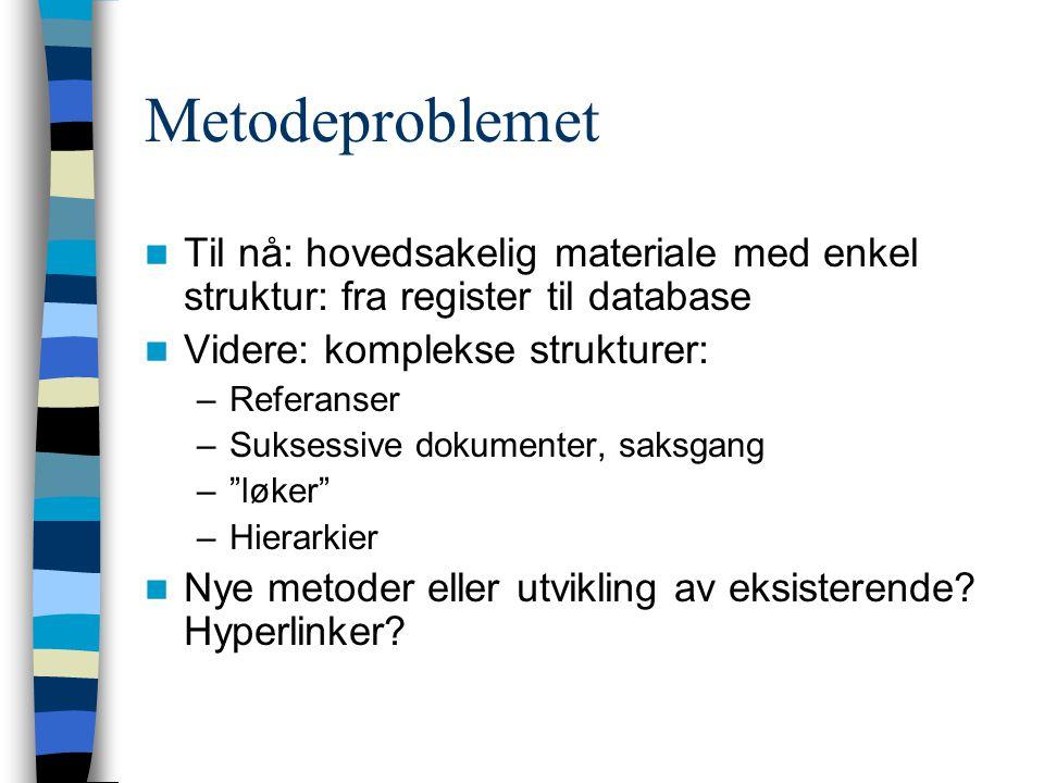 Metodeproblemet Til nå: hovedsakelig materiale med enkel struktur: fra register til database Videre: komplekse strukturer: –Referanser –Suksessive dokumenter, saksgang – løker –Hierarkier Nye metoder eller utvikling av eksisterende.