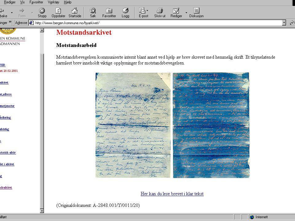 Veivalg – spesielt for kommunalt materiale Eget personregistermateriale.
