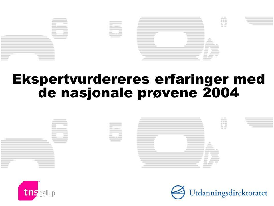 Ekspertvurdereres erfaringer med de nasjonale prøvene 2004