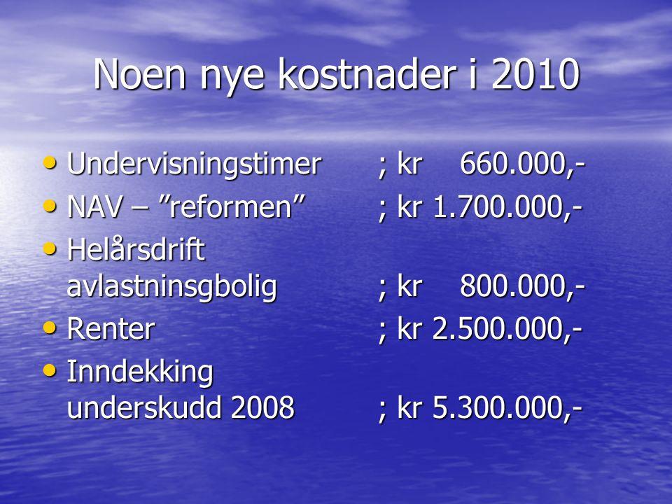 "Noen nye kostnader i 2010 Undervisningstimer; kr 660.000,- Undervisningstimer; kr 660.000,- NAV – ""reformen""; kr 1.700.000,- NAV – ""reformen""; kr 1.70"